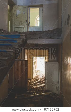 Interior Of A Destroyed Building. Abandoned Atmosphere