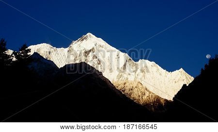 Beautiful View Of The Majestic Mountain On The Background Of Deep Blue Sky. Morning View Of Himalaya