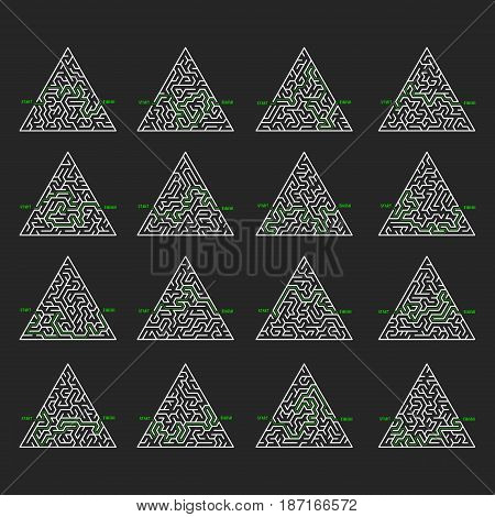 Triangular Maze Game background set. Labyrinth with entry and exit. Vector Illustration.