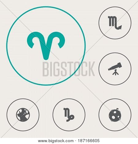 Set Of 6 Horoscope Icons Set.Collection Of Lunar, Earth Planet, Goat And Other Elements.