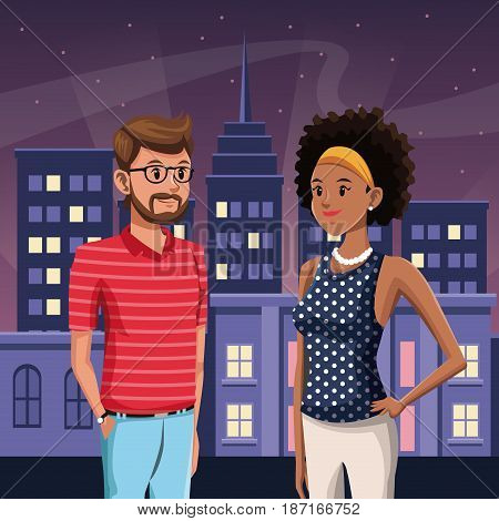 guy and girl in town - night city buildings with stars vector illustration