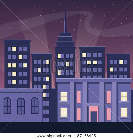 night city buildings urban dark scape style vector illustration