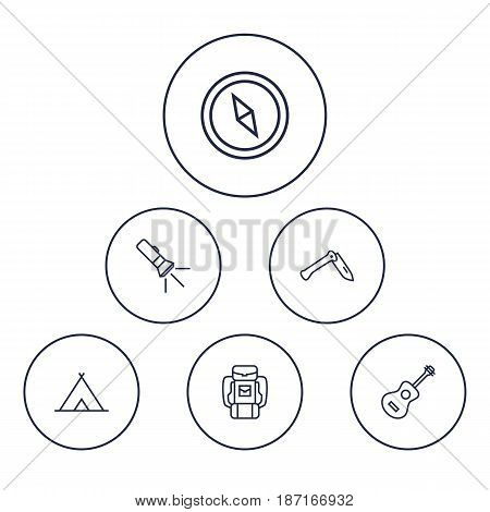 Set Of 6 Adventure Outline Icons Set.Collection Of Penknife, Pocket Torch, Shelter And Other Elements.