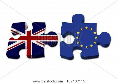 Relationship between the Britain and EU Two puzzle pieces with the flags of Britain and EU isolated over white 3D Illustration