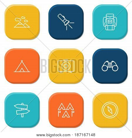 Set Of 9 Picnic Outline Icons Set.Collection Of Medical Kit, Baggage, Encampment And Other Elements.