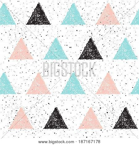 Doodle Triangle Seamless Background. Black, Blue And Pink Triangle.