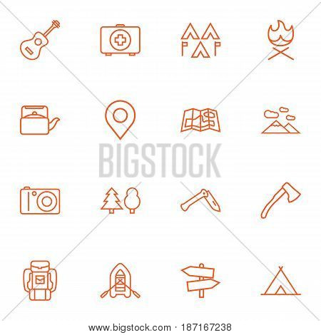 Set Of 16 Picnic Outline Icons Set.Collection Of Mountains, Penknife, Encampment And Other Elements.