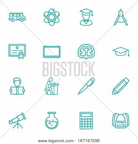 Set Of 16 Studies Outline Icons Set.Collection Of Pen, School Board, Graduation Cap And Other Elements.