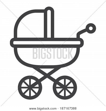 Baby bib line icon, pram and pushchair, vector graphics, a linear pattern on a white background, eps 10.