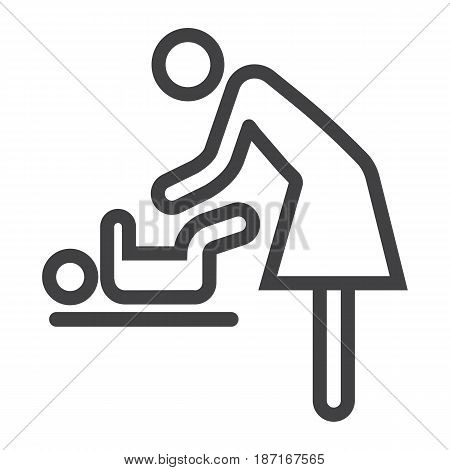 Mother swaddle baby line icon, care and motherhood, vector graphics, a linear pattern on a white background, eps 10.