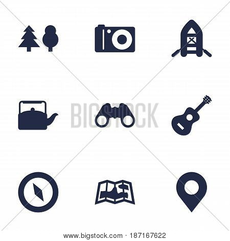 Set Of 9 Outdoor Icons Set.Collection Of Inflatable Raft, Photo Camera, Kettle And Other Elements.