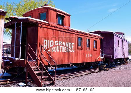 May 3, 2017 in Golden, CO:  Vintage Rio Grande Caboose which is a railroad car that provided accommodations for the crew at the Colorado Railroad Museum where visitors can look at railroad displays taken in Golden, CO