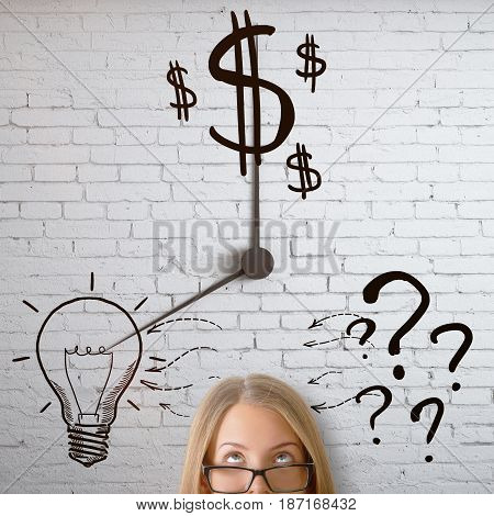 Portrait of thoughtful young woman on white brick wall background with abstract money lamp anbd question mark clock. Idea concept
