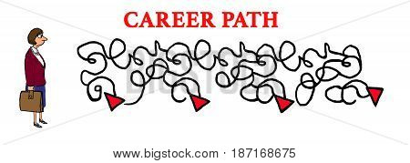 Business cartoon illustration showing the disheartened business woman and her circuitous career path.