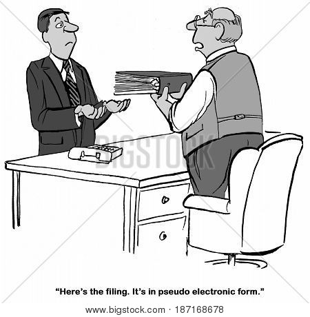 Legal cartoon about a paper filing, not digital.