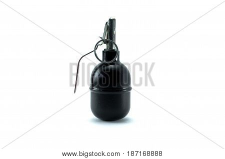 Hand grenade isolated on white background. Moulage (layout) of offensive grenade.