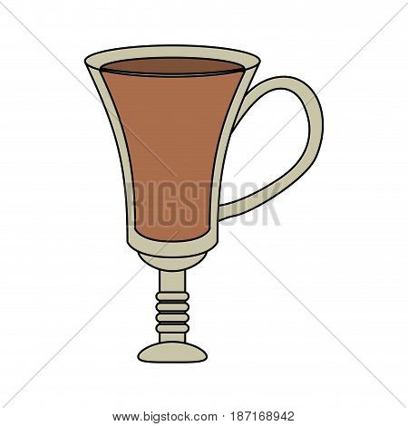 color image cartoon transparent glass cup of coffee with handle vector illustration