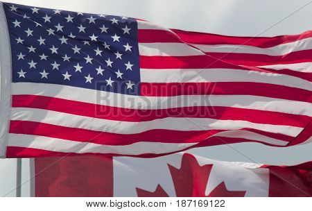 flag of united states with canadian country nations of north america