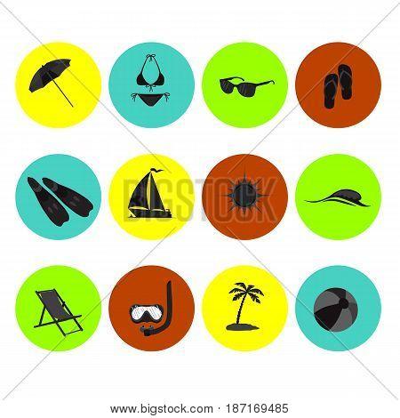 beach icon set sea travel leisure leisure sun tourism