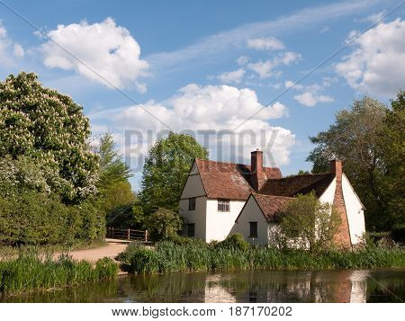 Willy Lott's Cottage Outside In Flatford Mill In Constable Country Old And Famous Location Building