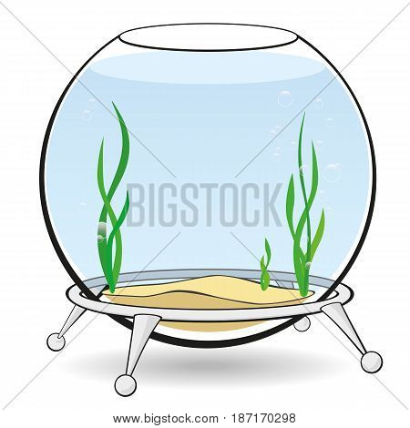 Fishbowl for fish with blue water, algae and bubbles on the stand. Aquarium on a white background. Vector cartoon illustration.