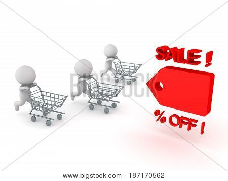 Three 3D Characters running and pushing shopping cart towards price cut tag. Image conveying sales promotion.