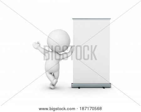 3D Character leaning on roll up banner. Image can be utilized when wanting to promote an event.