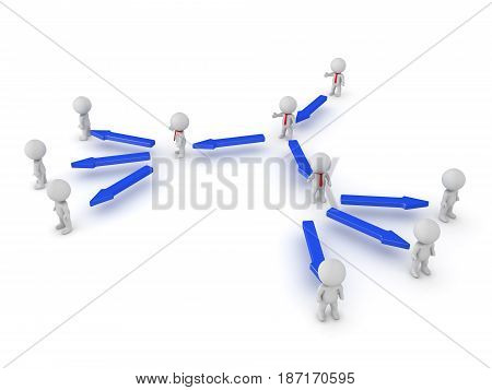 3D illustration of the hierarchy in a company. Image can be used in any leadership scenario.