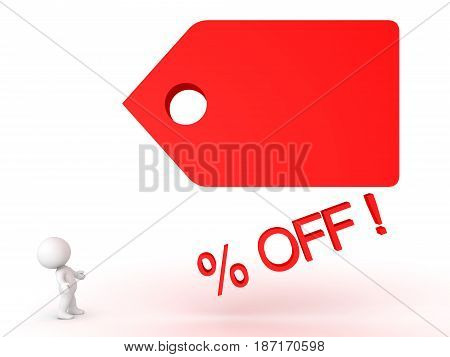 3D Character looking up at large price cut tag. Image can be used in sales promotions by any sort of store.