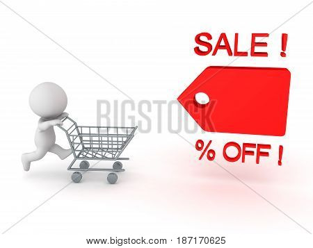 3D Character running and pushing shopping cart towards price cut tag. Image conveying sales promotion.