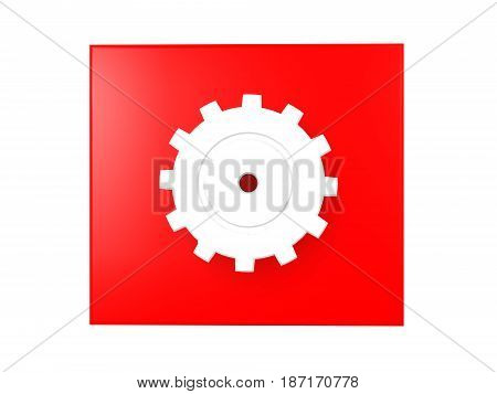3D illustration of a shiny cog over a red background. Image could symbolize work being done.