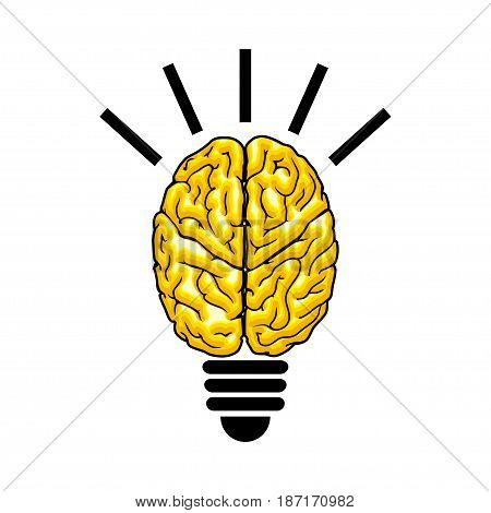 Illustration bulbs as the brain on a white background.