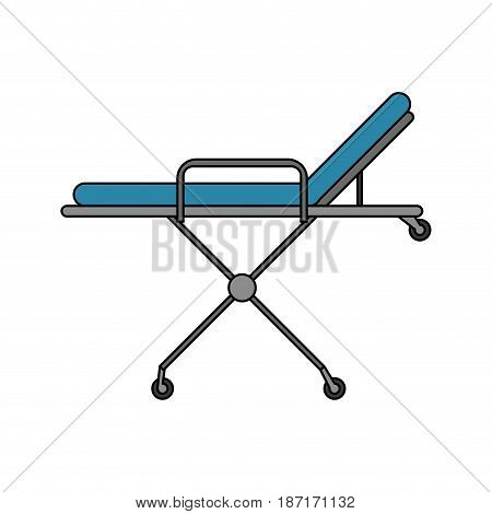 color image cartoon medical stretcher bed on wheels vector illustration