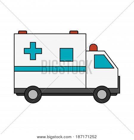 color image cartoon ambulance truck with cross symbol vector illustration