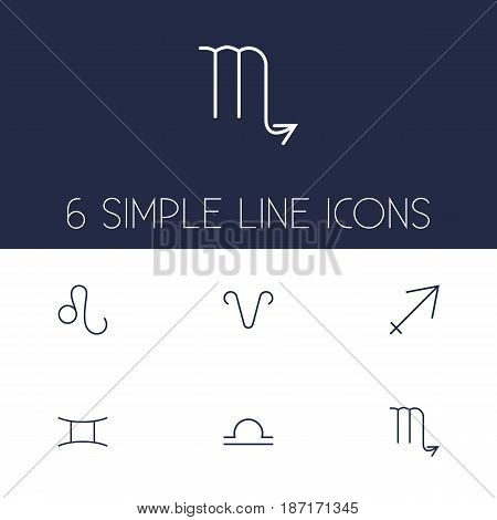 Set Of 6 Horoscope Outline Icons Set.Collection Of Leo, Gemini, Scorpion And Other Elements.
