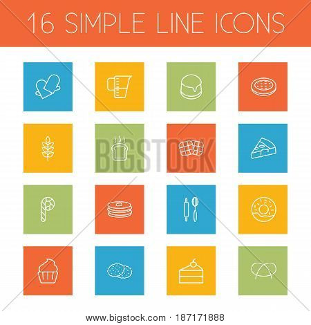Set Of 16 Bakery Outline Icons Set.Collection Of Rolling Pin, Measuring Cup, Wheat And Other Elements.