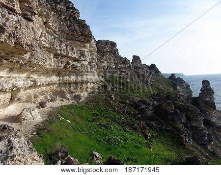 Rocky cliffs. by the sea. Tarhankut Crimea