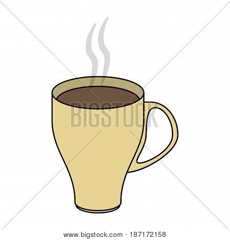 color image cartoon crockery modern cup of coffee with steam vector illustration