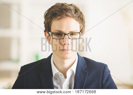 Portrait Of European Man At Workplace