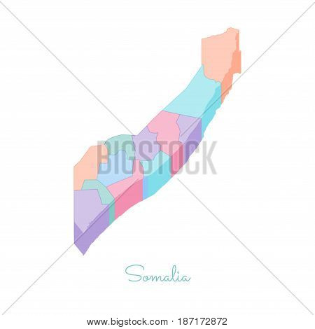 Somalia Region Map: Colorful Isometric Top View. Detailed Map Of Somalia Regions. Vector Illustratio