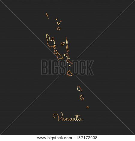 Vanuatu Region Map: Golden Gradient Outline On Dark Background. Detailed Map Of Vanuatu Regions. Vec