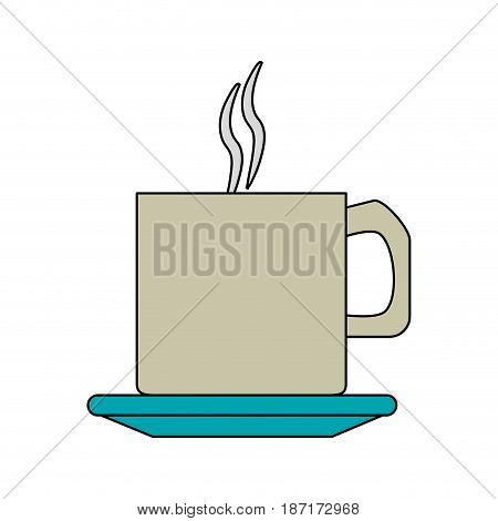 color image cartoon crockery mug of coffee with steam vector illustration