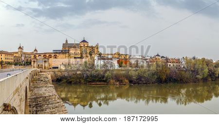 Panoramic view of Cordoba with Mosque Cathedral from Guadalquivir river Spain