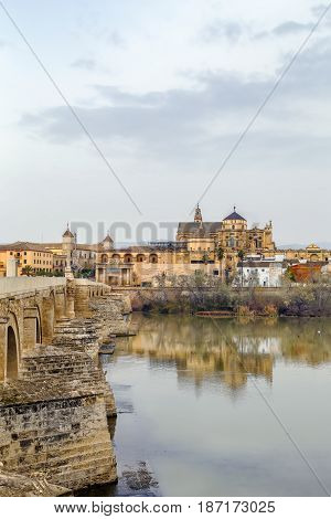 view of Cordoba with Mosque Cathedral from Guadalquivir river Spain