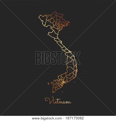 Vietnam Region Map: Golden Gradient Outline On Dark Background. Detailed Map Of Vietnam Regions. Vec