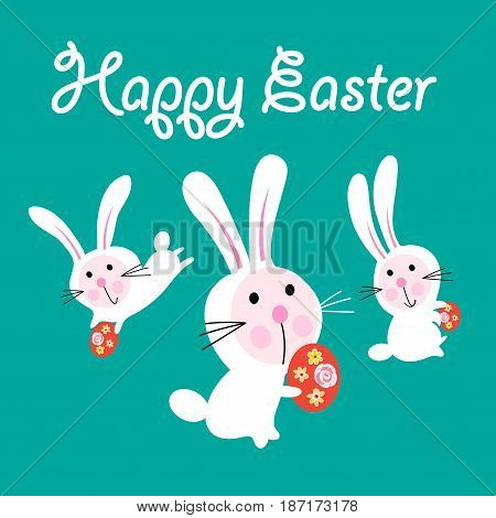 Vector Easter greeting card with funny hares on a green background