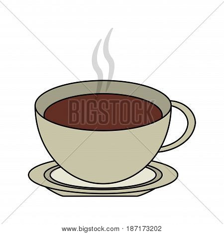 color image cartoon top view crockery cup of coffee with steam vector illustration
