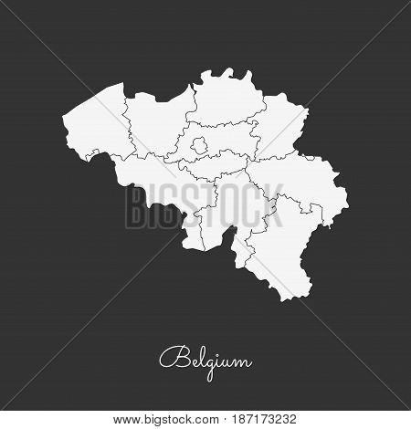 Belgium Region Map: White Outline On Grey Background. Detailed Map Of Belgium Regions. Vector Illust
