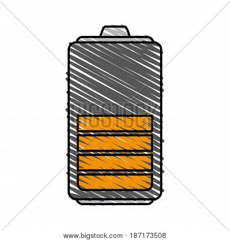 color crayon stripe cartoon battery device with level vector illustration