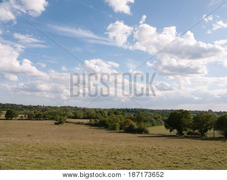 A Big Open Bit Of Grassy Countryside Landscape With Trees In The Distance On A Clear And Cool Summer